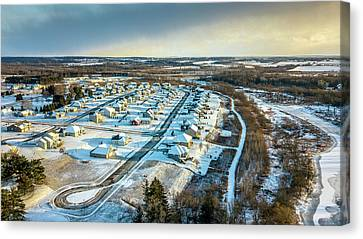 Canvas Print featuring the photograph Snow Covered Subdivision by Randy Scherkenbach