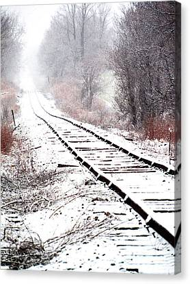 Snow Covered Wisconsin Railroad Tracks Canvas Print