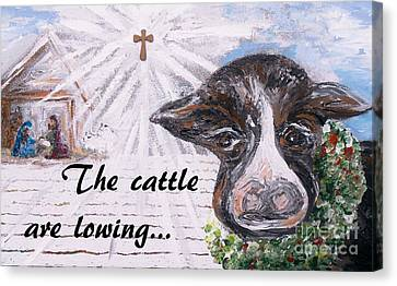 Snow Cow At The Manger Canvas Print by Eloise  Schneider