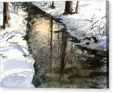 Canvas Print featuring the painting Snow Creek by Andrew King