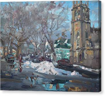 Snow Day At 7th St By Potters House Church Canvas Print by Ylli Haruni
