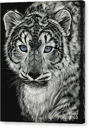 Snow Leopards Canvas Print - Snow Dragon Leopard by Stanley Morrison