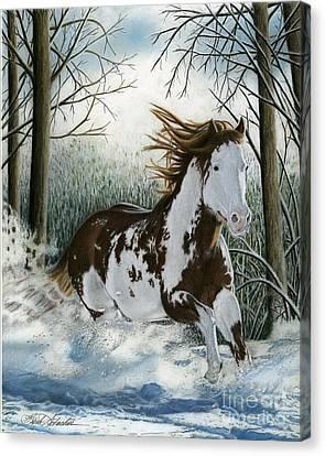 Snow Driftin', Pastel Canvas Print
