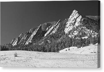 Snow Dusted Flatirons Boulder Co Panorama Bw Canvas Print by James BO  Insogna