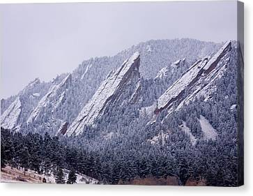 Snow Dusted Flatirons Boulder Colorado Canvas Print