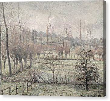 Snow Effect At Eragny Canvas Print by Camille Pissarro