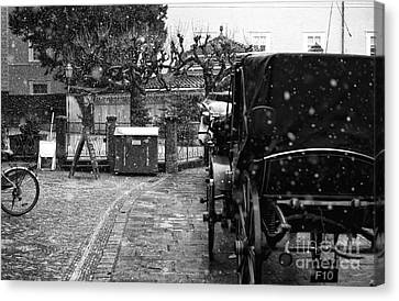 Snow Falling On The Buggy Canvas Print by John Rizzuto