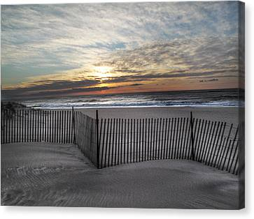 Snow Fence At Coopers Beach Canvas Print by Steve Gravano