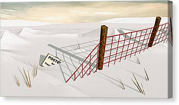 Canvas Print featuring the painting Snow Fence by Peter J Sucy