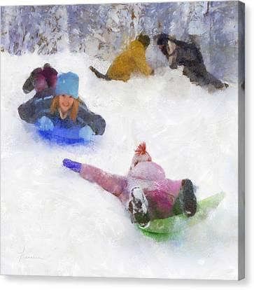 Canvas Print featuring the digital art Snow Fun by Francesa Miller