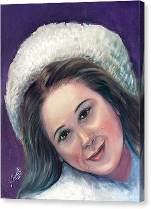 Canvas Print featuring the painting Snow Girl  by Laila Awad Jamaleldin