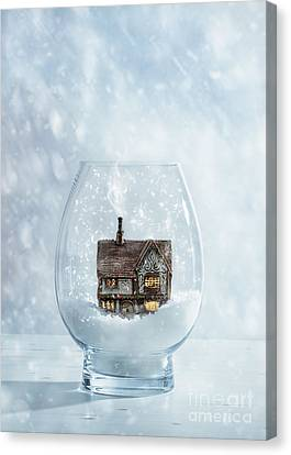 Snow Globe With Country Cottage Canvas Print by Amanda Elwell