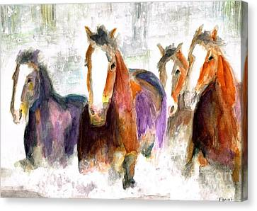 Horse In Art Canvas Print - Snow Horses by Frances Marino