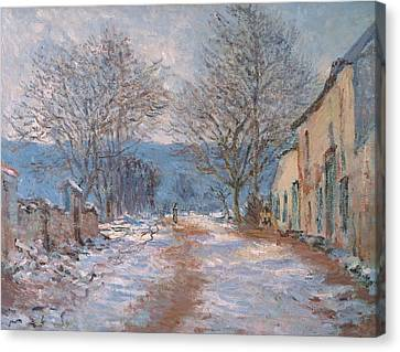 Snow In Limetz   Effet De Neige A Limetz Canvas Print by Claude Monet