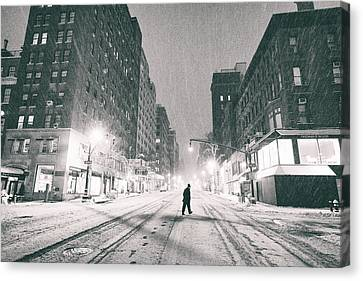 Snow In New York City Canvas Print by Vivienne Gucwa