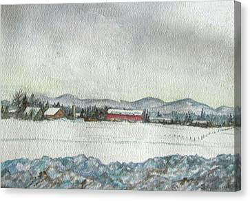 Snow In The Berkshires Canvas Print by Judy Riggenbach