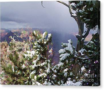 Canvas Print featuring the photograph Snow In The Canyon by Roberta Byram