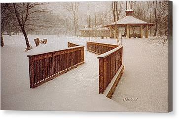 Snow In The Park 3d Canvas Print