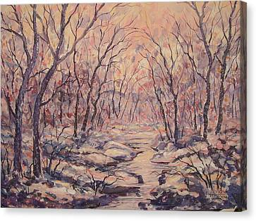 Snow In The Woods. Canvas Print
