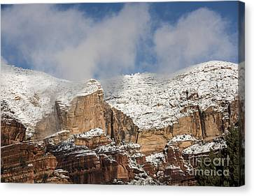 Canvas Print featuring the photograph Snow Kissed Morning In Sedona, Az by Sandra Bronstein