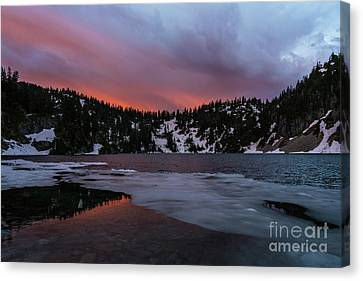 Snow Lake Icy Sunrise Fire Canvas Print by Mike Reid