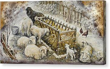 Snow Lambs Canvas Print by Sorin Apostolescu