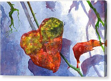 Canvas Print featuring the painting Snow Leaf by Andrew King