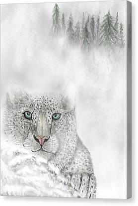 Canvas Print featuring the digital art Snow Leopard by Darren Cannell
