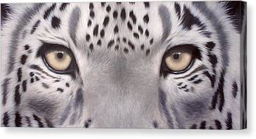 Close Up Canvas Print - Snow Leopard Eyes Painting by Rachel Stribbling