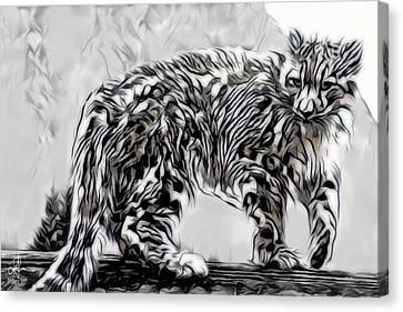 Canvas Print featuring the digital art Snow Leopard by Pennie McCracken