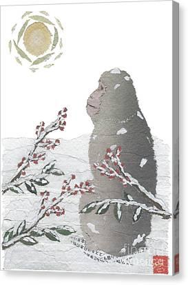Snow Monkey And Sunrise  Canvas Print by Keiko Suzuki