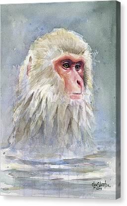Snow Monkey Taking A Bath Canvas Print by Olga Shvartsur