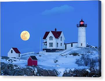 Snow Moon Canvas Print by Michael Blanchette