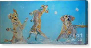 Snowball Canvas Print - Snow Much Fun by Kimberly Santini