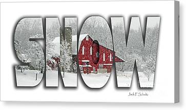 Red Barn In Snow Canvas Print - Snow Name  3 by Jack Schultz