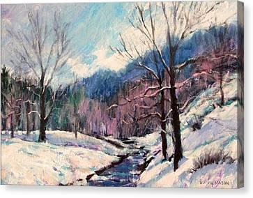 Snow On Goose Creek Canvas Print by Bonnie Mason