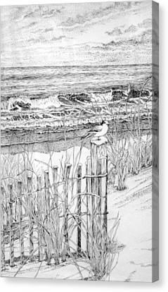 Sand Fences Canvas Print - Snow On The Beach by Janice Petrella-Walsh