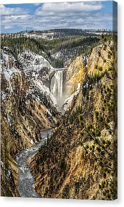Snow On The Falls Canvas Print by Yeates Photography