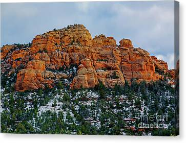 Snow On The Red Rocks Canvas Print by Jon Burch Photography
