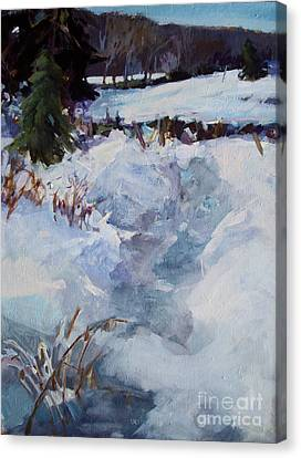 Canvas Print featuring the painting Snow Path by Diane Ursin