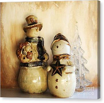 Snow People In Love Canvas Print by Marsha Heiken