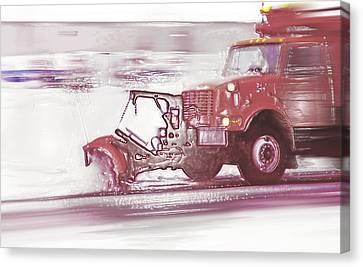 Snow Plow In Business Park 2 Canvas Print by Steve Ohlsen