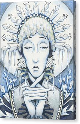 Snow Queen Slumbers Canvas Print by Amy S Turner
