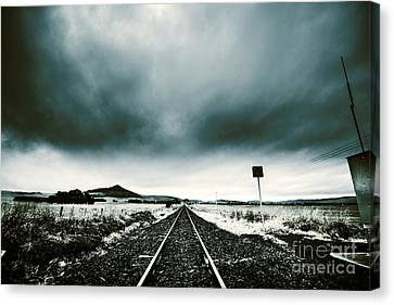 Canvas Print featuring the photograph Snow Railway by Jorgo Photography - Wall Art Gallery