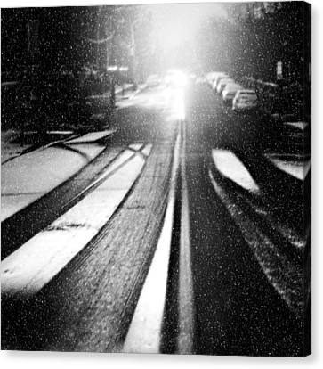 Snowy Night Night Canvas Print - Snow Removal by Diana Angstadt