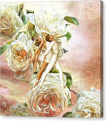 Snow Rose Ballet Canvas Print by Carol Cavalaris