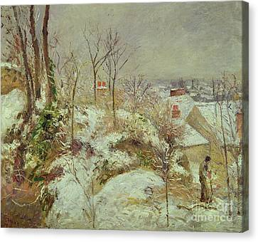 Snow Scene Canvas Print by Camille Pissarro