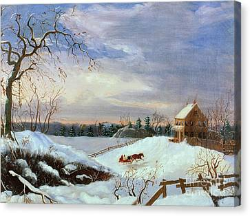 Snow Scene In New England Canvas Print