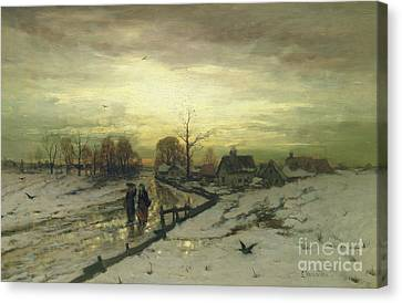 Snow Scenes Canvas Print - Snow Scene  Sunset by Ludwig Munthe