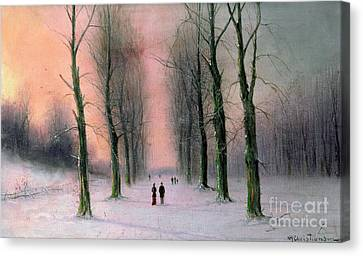 Snow Scene Wanstead Park   Canvas Print by Nils Hans Christiansen